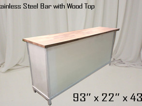 Stainless Steel Bar with Wood Top