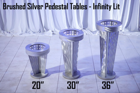 Brushed Silver Pedestals Infinity Lit