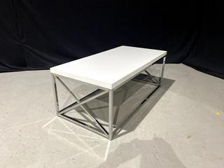White & Silver X Series Coffee Table