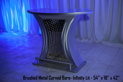 Brushed Metal Curved Bars Infinity Lit