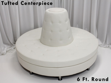 Tufted White Leather Centerpiece