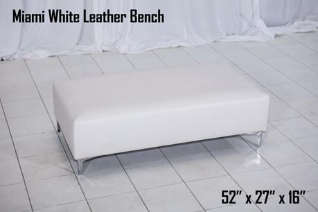 Miami White Leather Bench