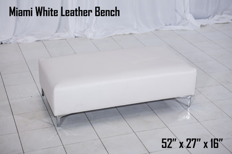Miami White Leather Bench