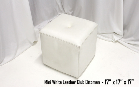 Mini White Leather Club Ottoman
