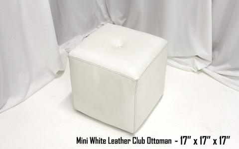 Mini White Leather Club Ottoman