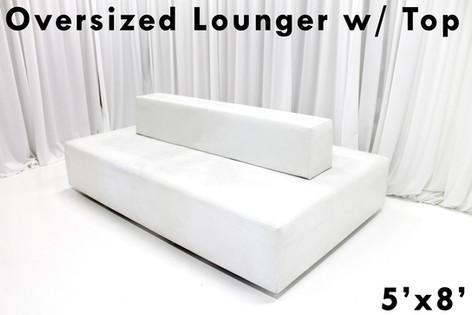 White Leather Oversized Lounger Backed