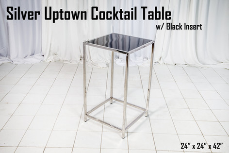 Silver Uptown Cocktail Table Black Insert