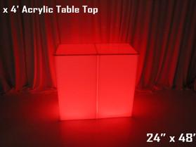 2' x 4' Acrylic Table Top - Clear