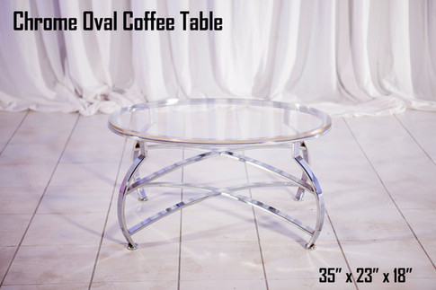 Chrome Oval Coffee Table