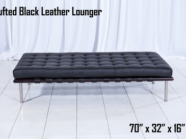 Black Leather Tufted Lounger