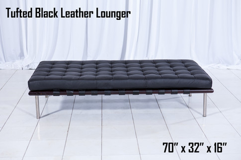 Tufted Black Leather Lounger