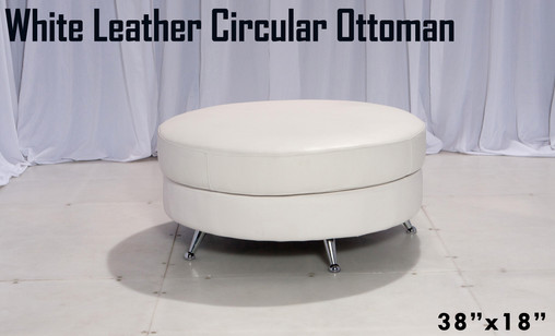 White Leather Circular Ottoman