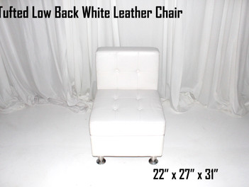 White Leather Tufted Low Back   Chair