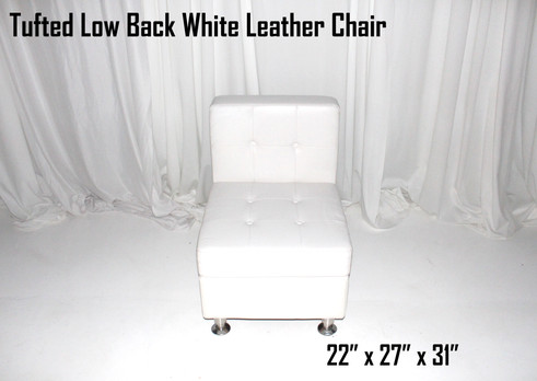 Tufted Low Back White Leather Chair