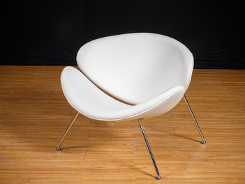 White Leather Oyster Chair