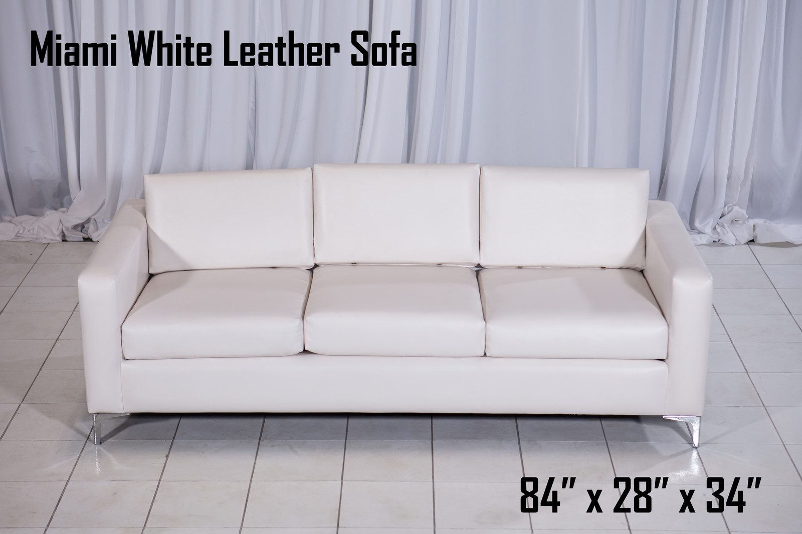 Miami White Leather Sofa