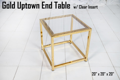Gold Uptown End Table w Clear Insert