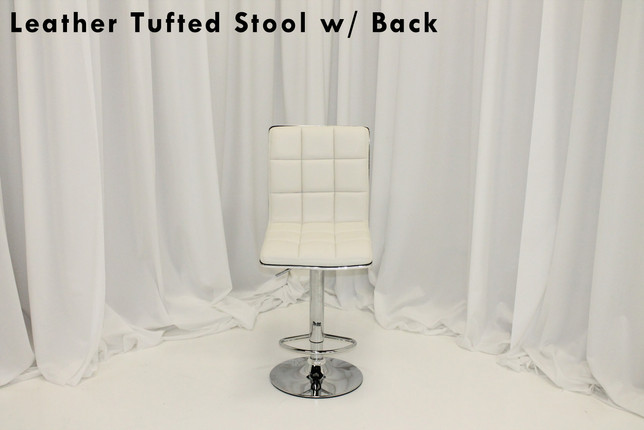 Tufted White Leather Stools with Back