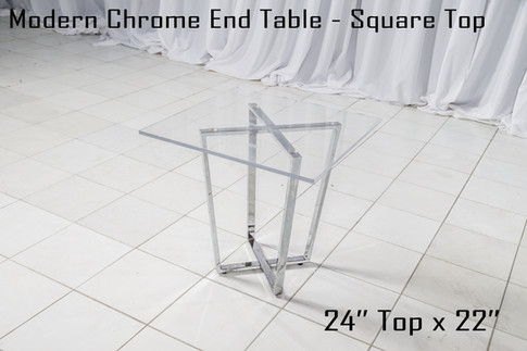 Modern Chrome End Table Square