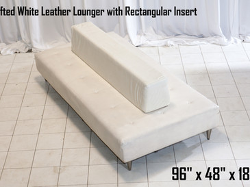 White Leather Tufted Lounger with Rectangular Insert