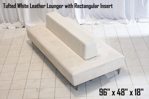 Tufted White Leather Lounger with Rectangular Insert
