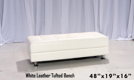 Tufted White Leather Bench