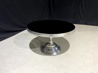 Black & Chrome Pedestal Coffee Table