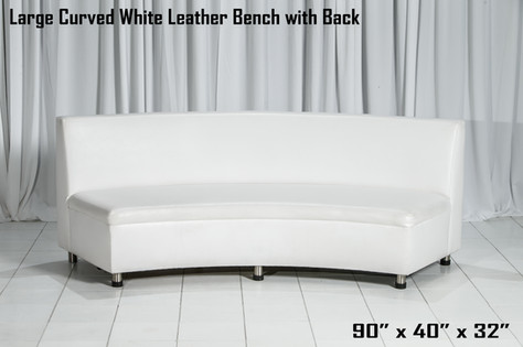 Large Curved White Leather Bench with Regular Back