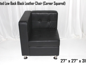 Black Leather Tufted Low Back   Chair (Corner Squared)