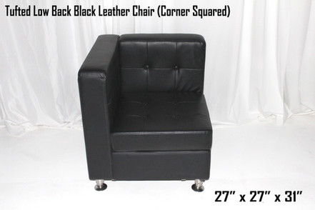 Tufted Low Back Black Leather Chair (Corner Squared)