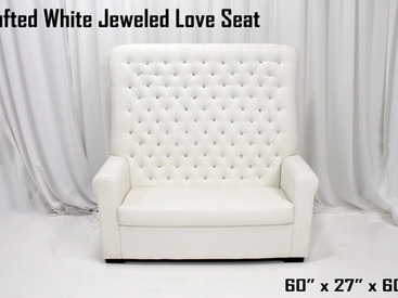 White Jeweled Tufted Love Seat