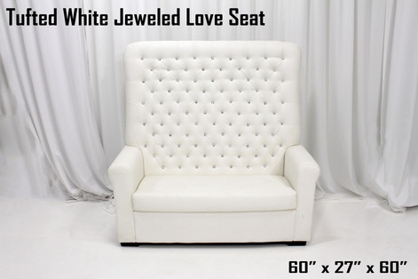 Tufted White Jeweled Love Seat