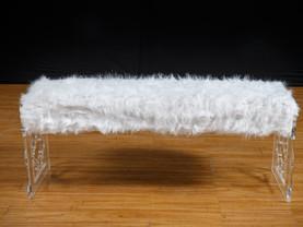 White Fur Bench