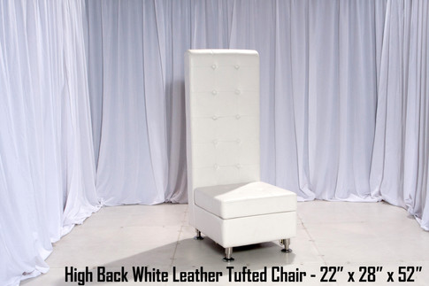 Tufted High Back White Leather Chair -Lower 52 inch