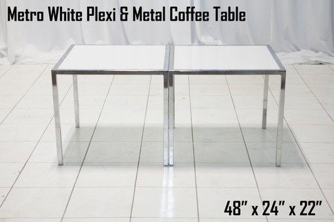 Metro White Plexi and Metal Coffee Table