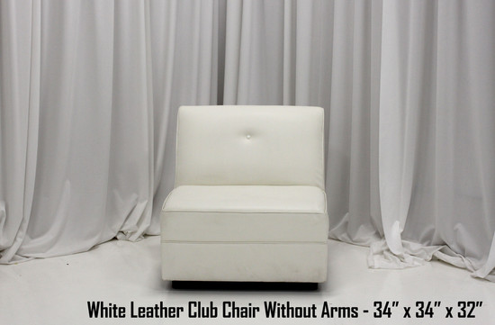 White Leather Club Chair Without Arms