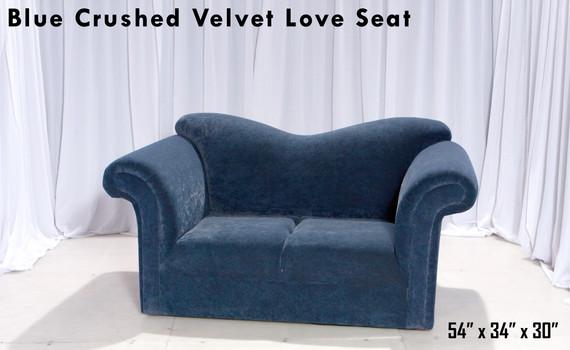 Blue Crushed Velvet Love Seat