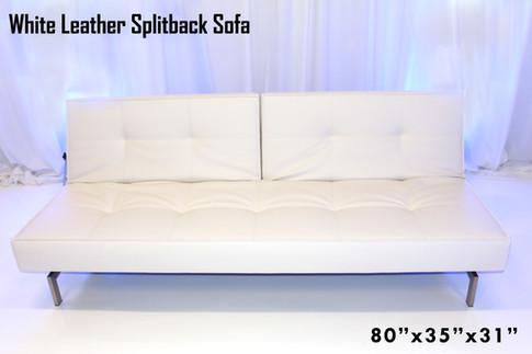 White Leather Splitback Sofa Up