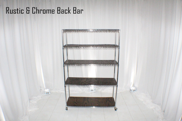 Rustic and Chrome Back Bar