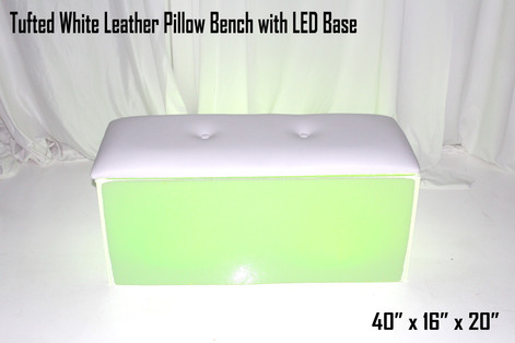 Tufted White Leather Pillow Bench with LED Base