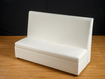 """White Leather Banquette 60"""" Length"""