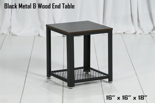 Black Metal and Wood End Table