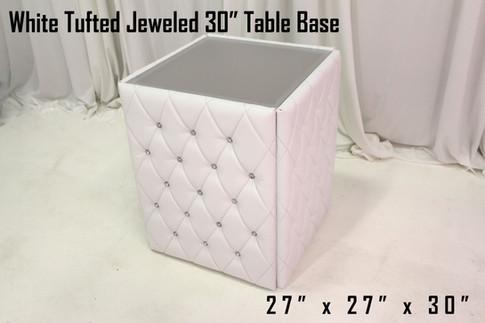 White Tufted Jeweled 30 Table Base