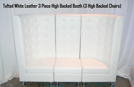 Tufted White Leather 3 Piece High Back Booth