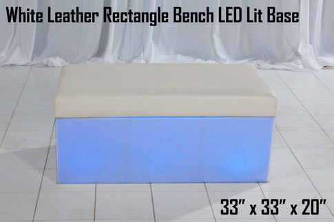 White Leather Rectangle Bench LED Lit Base