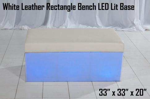 White Leather Rectangle Bench LED Lit Base