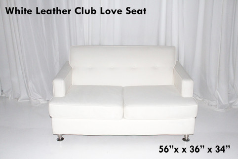 White Leather Club Love Seat