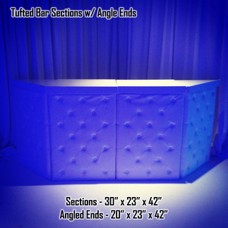 Tufted White Leather Bar Sections with Angle Ends