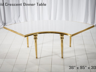 Gold Accented White Crescent Dinner Table