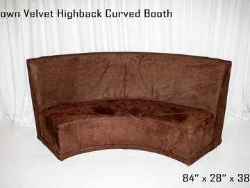 Brown Velvet Highback Curved Booth